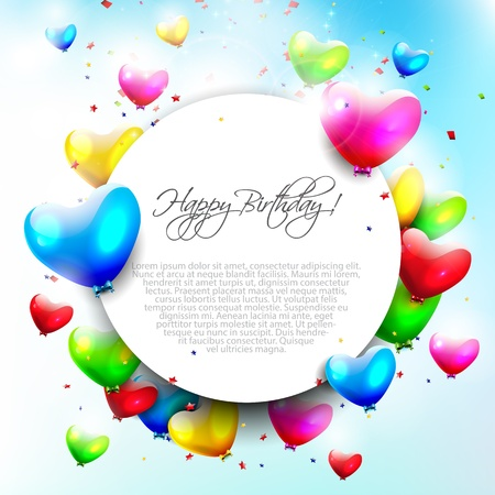 red balloons: Colorful birthday background with place for text