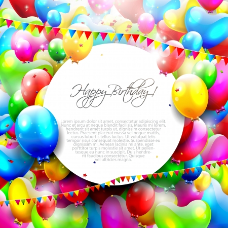 birthday background: Colorful birthday background with place for text