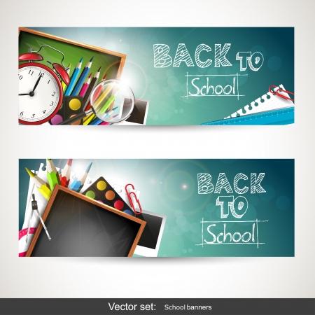 educacion: Conjunto de dos banners horizontales con útiles escolares