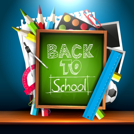 Back to school - school supplies and chalkboard on the shelf - creative vector background Vector