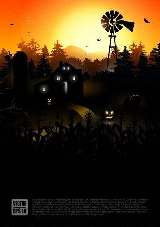 spooky house: Haunted farmhouse in the woods - Halloween poster   Illustration