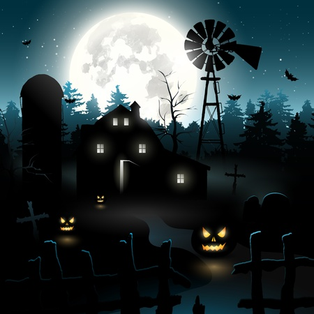 gravestone: Haunted farmhouse in the woods - Halloween background