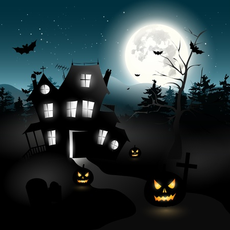 Haunted house in the woods - Halloween background
