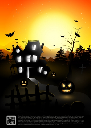 haunted tree: Haunted house in the woods - Halloween background