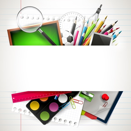 zpátky do školy: Škola pozadí školní potřeby a copyspace Ilustrace
