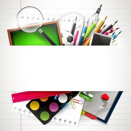 education: arrière-plan de l'école avec les fournitures scolaires et atelier
