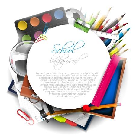utiles escolares: Fuentes de escuela en el fondo blanco con copyspace Vectores
