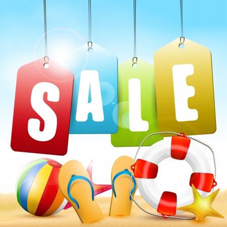 Summer sale - vector background Illustration