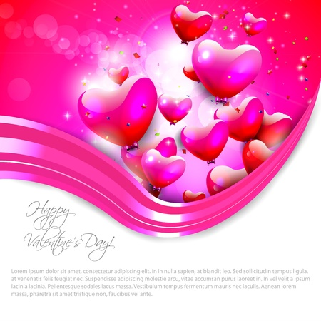 Pink background with flying hearts and copyspace Vector