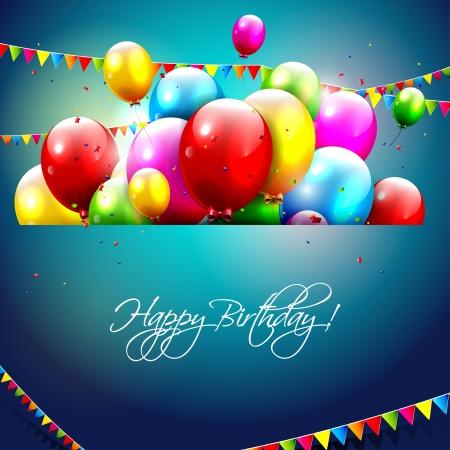 birthday invitation: Colorful birthday background  Illustration