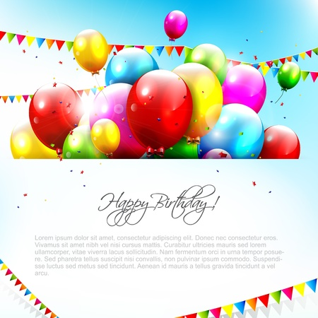 happy people: Colorful birthday background with place for text