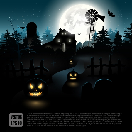 night: Haunted farmhouse in the woods - Halloween poster   Illustration