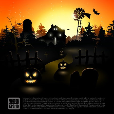 Haunted farmhouse in the woods - Halloween poster Stock Vector - 21541283