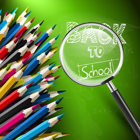 Modern school background with pencils and magnifier Stock Vector - 21541284