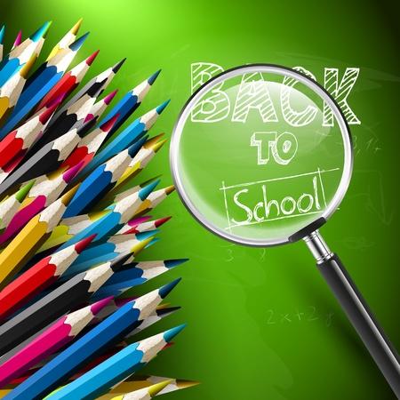 Scuola sfondo moderno con matite e lente Archivio Fotografico - 21541284