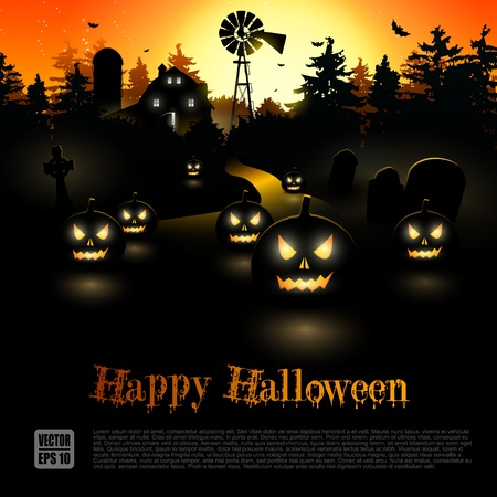 Haunted farmhouse in the woods - Halloween poster Stock Vector - 21541287