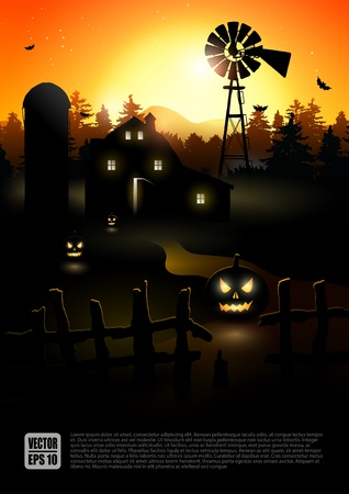 farmhouse: Haunted farmhouse in the woods - Halloween poster   Illustration