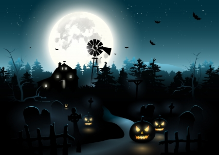 Scary graveyard in the woods - Halloween poster Vector