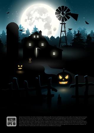 halloween poster: Haunted casa colonica nel bosco - poster di Halloween Vettoriali
