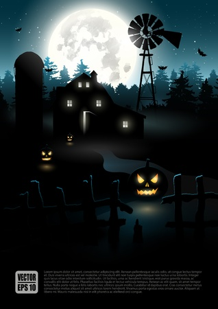 scary night: Haunted farmhouse in the woods - Halloween poster   Illustration
