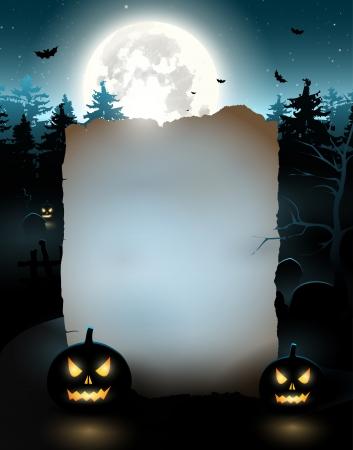 halloween party: Halloween poster met oude lege papier Stock Illustratie