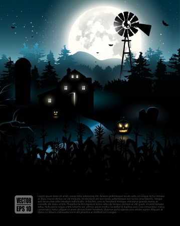 house party: Haunted farmhouse in the woods - Halloween poster   Illustration