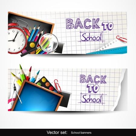ni�os con pancarta: Conjunto de dos banderas verticales con �tiles escolares Vectores