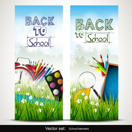 knowledge tree: Set of two school banners with school supplies in the grass Illustration