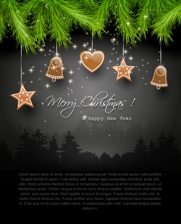 sylvester: Christmas background with gingerbreads and place for text Illustration