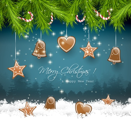 sylvester: Christmas greeting card with gingerbreads Illustration