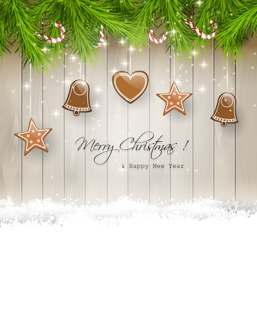 glitter gloss: Christmas background with gingerbreads and place for text Illustration