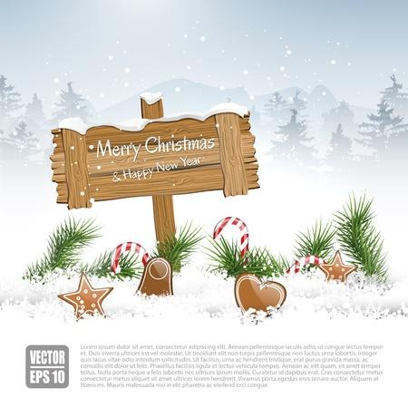 glitter gloss: Wooden sign in winter landscape - vector background