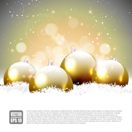 bright card: Christmas background with gold baubles in the snow
