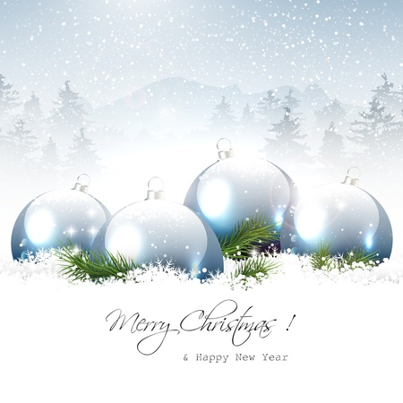 snowing: Christmas baubles in winter landscape - vector background