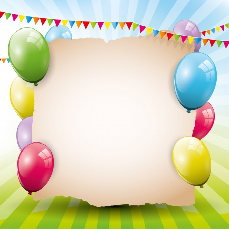 birthday party kids: Sweet birthday background with empty paper