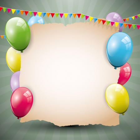 Sweet birthday background with empty paper and colorful balloons Stock Vector - 21910723