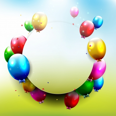 birthday party children: Birthday background with flying balloons and copyspace   Illustration