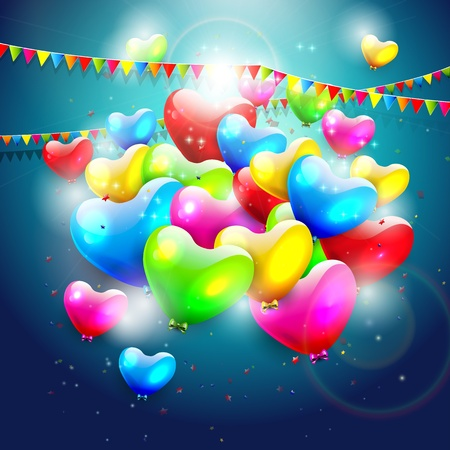 Colorful heart shaped birthday balloons     Vector