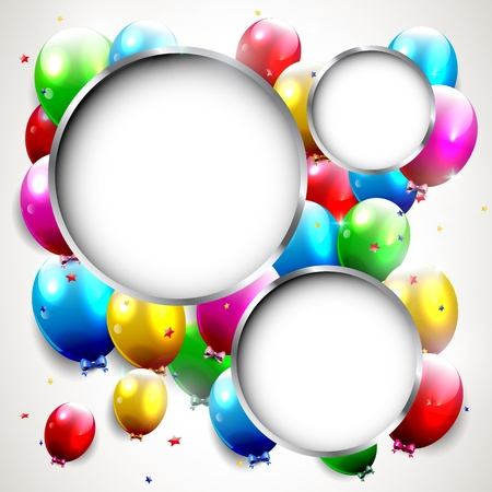 happy people: Luxury birthday background with colorful balloons and copyspace