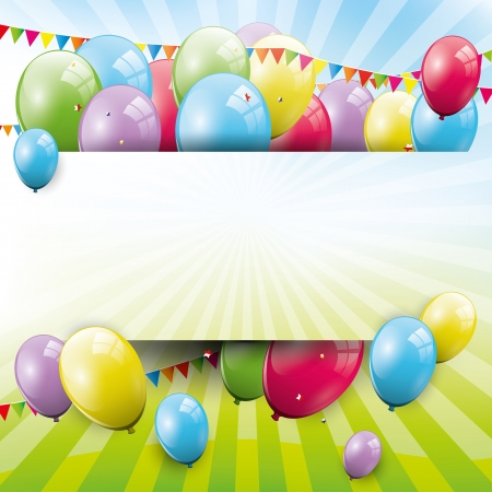 Sweet birthday background with balloons and copyspace Vector