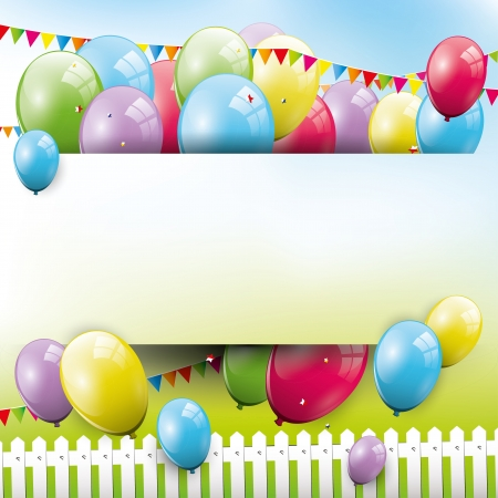 Sweet birthday background with balloons and copyspace Stock Vector - 21910728