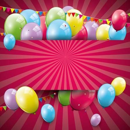 Sweet birthday background with balloons and copyspace Stock Vector - 21910720
