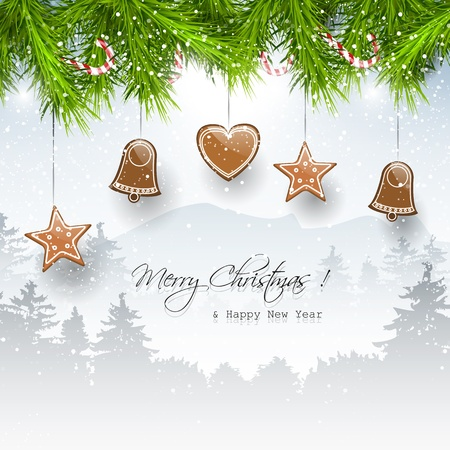 christmas snow: Christmas background with gingerbreads and place for text     Illustration