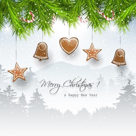 weihnachten zweig: Hintergrund Weihnachten mit Lebkuchen und Platz f�r Text