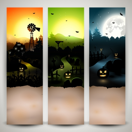 Set of three Halloween banners with copyspace Vector