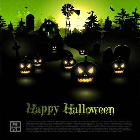 Embrujadas granja en el bosque - cartel de Halloween Foto de archivo - 21910737