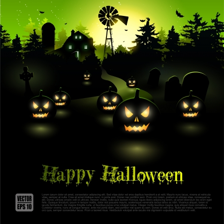 farmhouse: Haunted farmhouse in the woods - Halloween poster