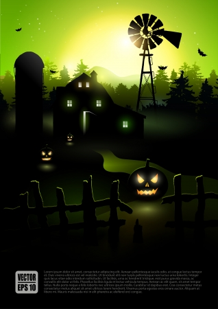 house party: Haunted farmhouse in the woods - Halloween background     Illustration