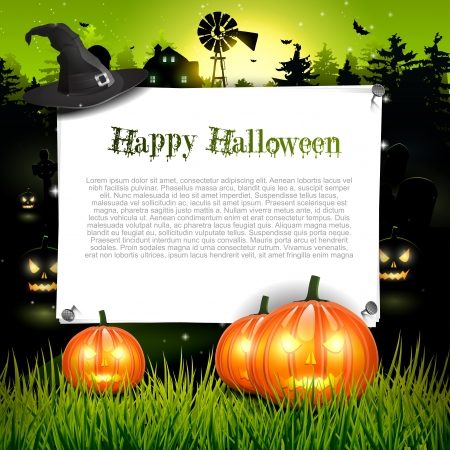 zucche halloween: Halloween background con posto per il testo