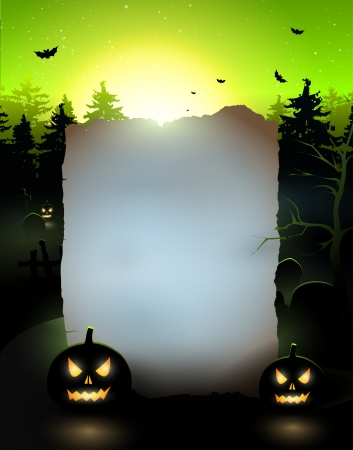 Halloween poster with old paper